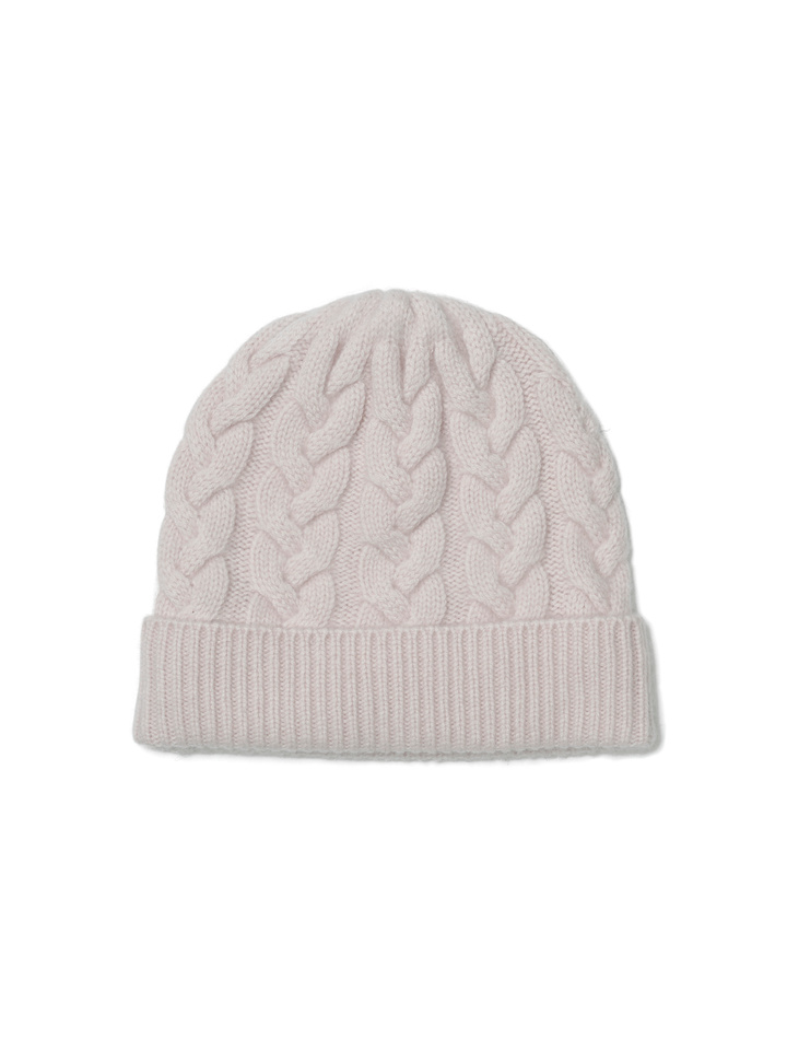Soft Goat Cable Knit Beanie Marshmallow