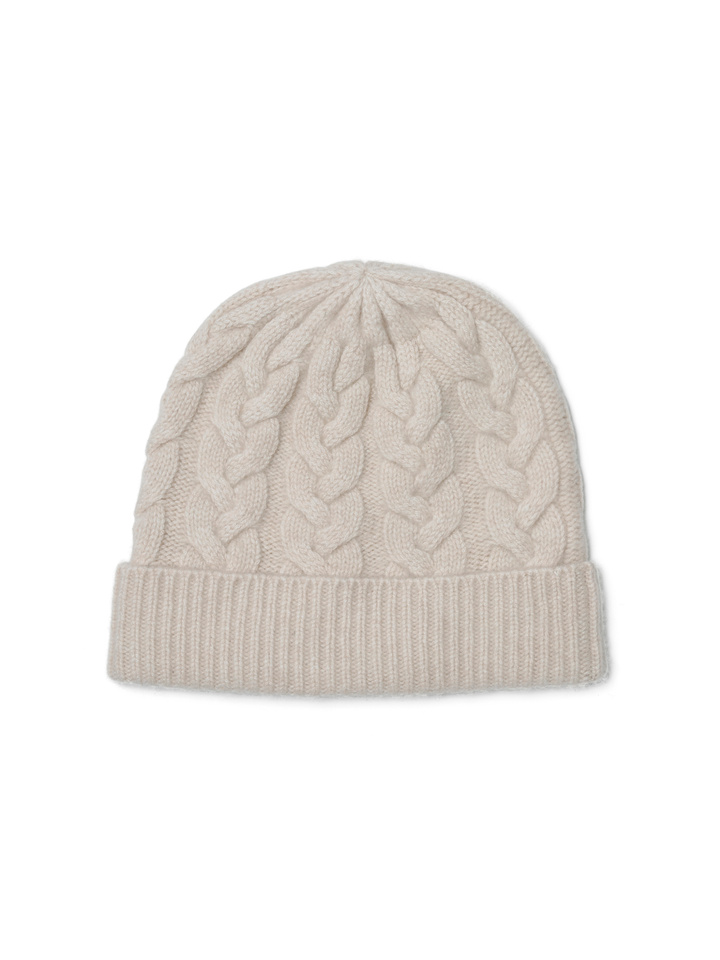 Soft Goat Cable Knit Beanie Beige