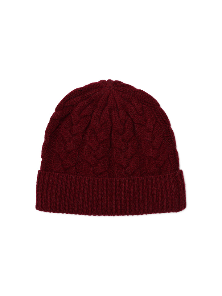Soft Goat Cable Knit Beanie Burgundy