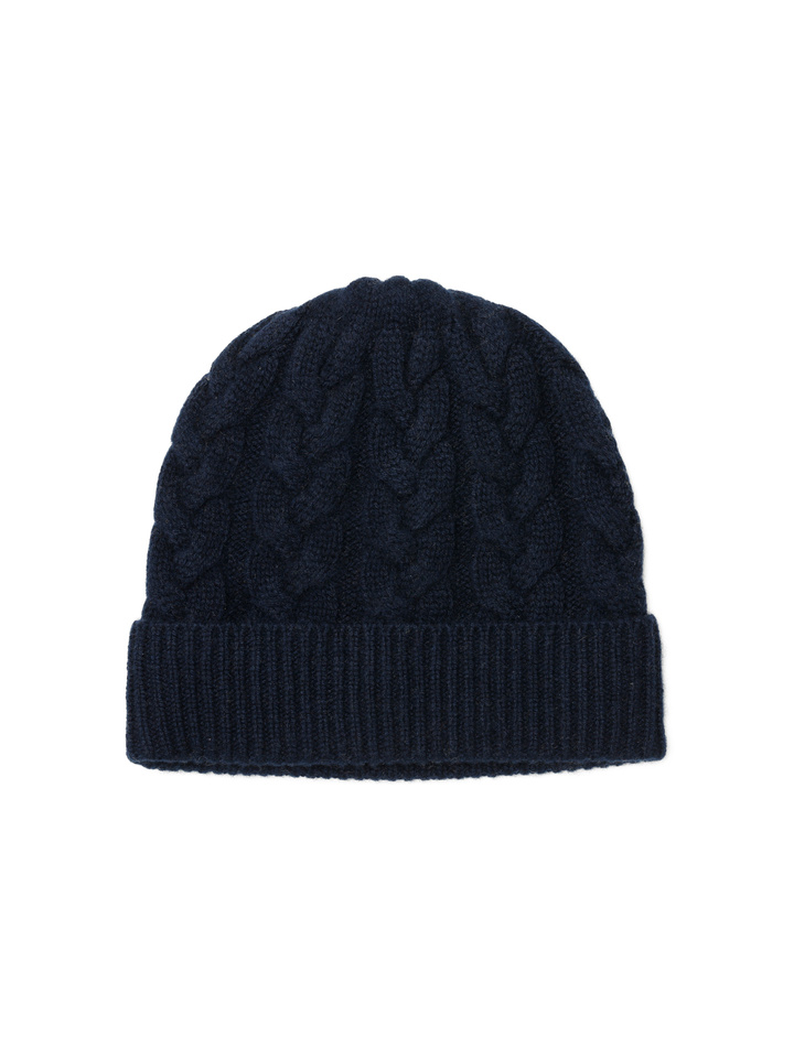Soft Goat Cable Knit Beanie Navy