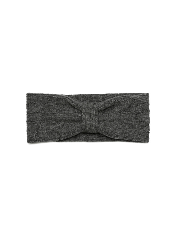 Soft Goat Cable Knit Headband Dark Grey