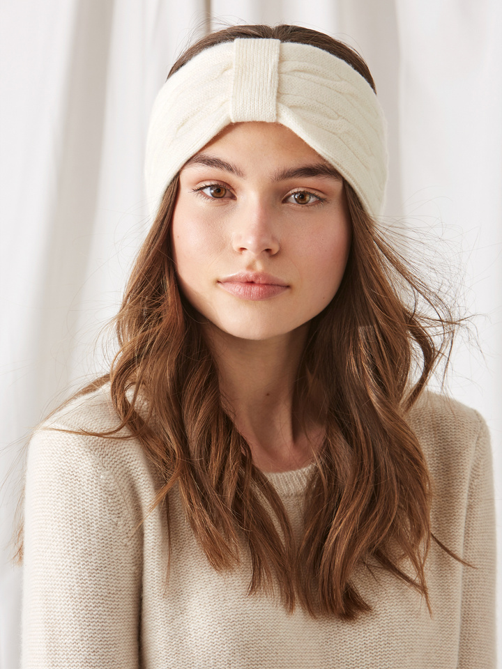 Soft Goat Cable Knit Headband Off White