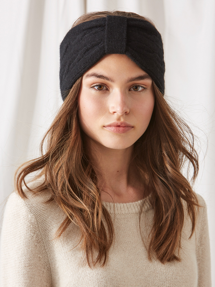 Soft Goat Cable Knit Headband Black