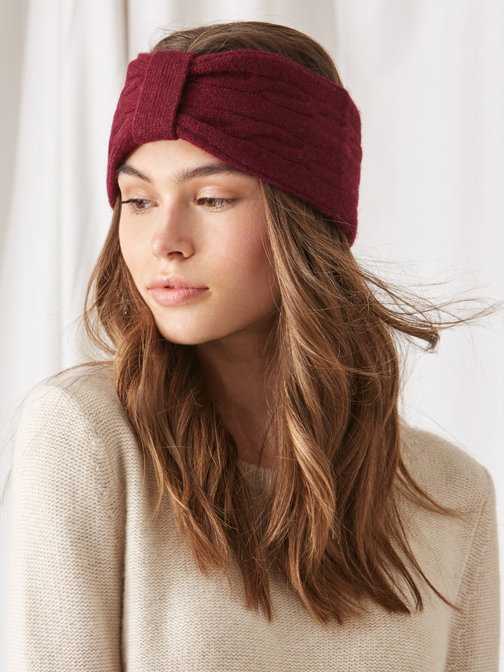 Soft Goat Cable Knit Headband Burgundy