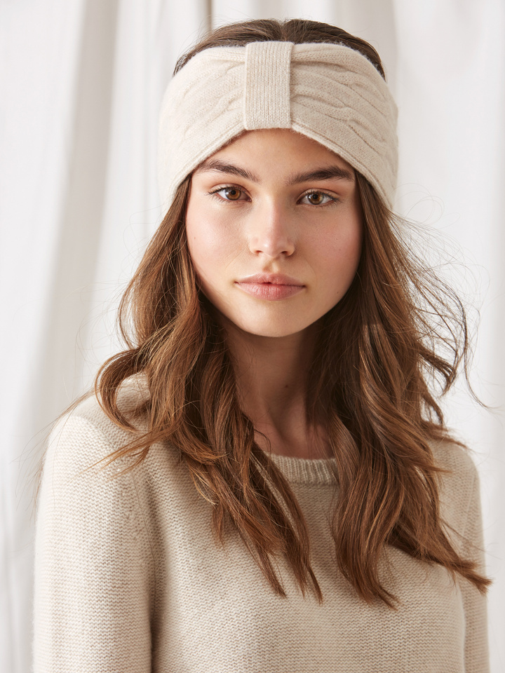 Soft Goat Cable Knit Headband Beige