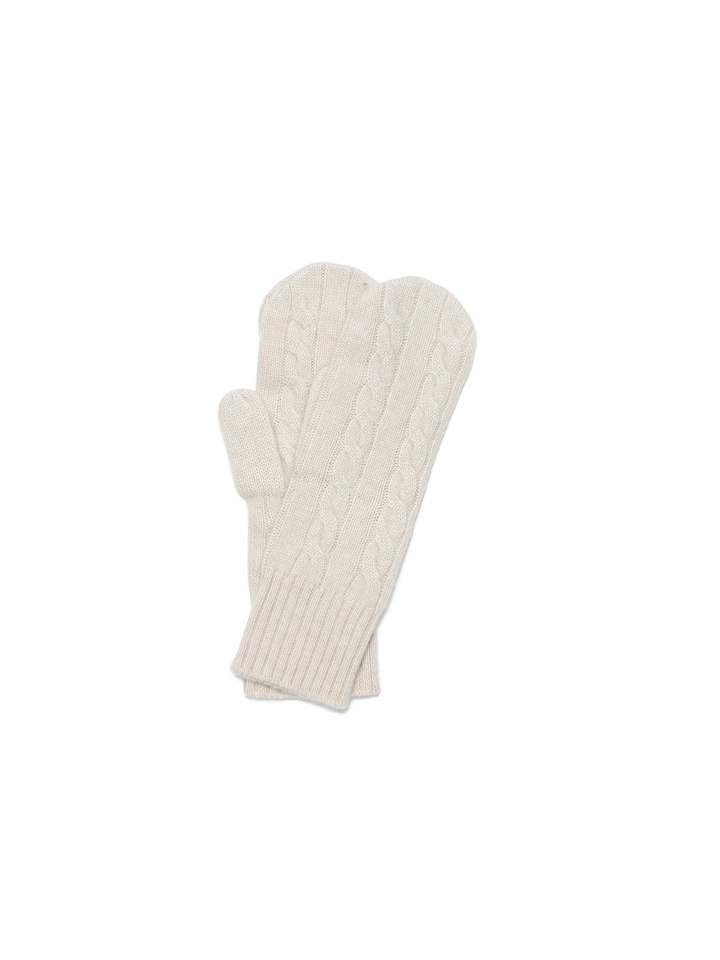Soft Goat Cable Knit Mittens Beige