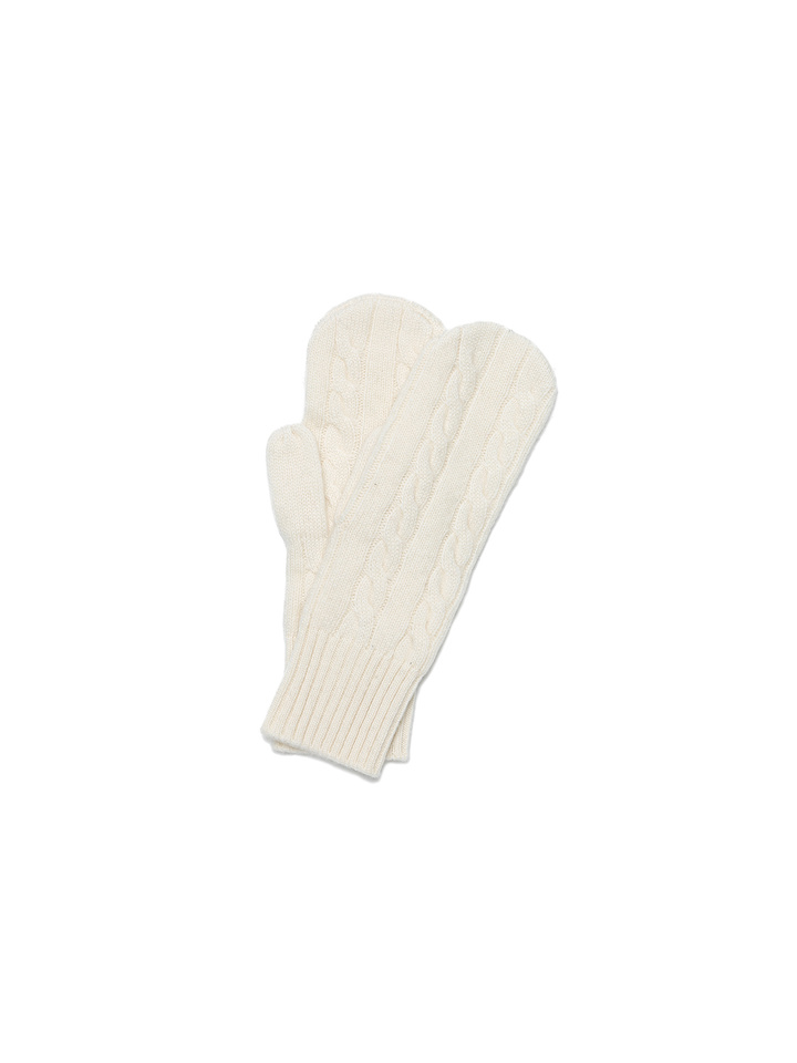 Soft Goat Cable Knit Mittens Off White