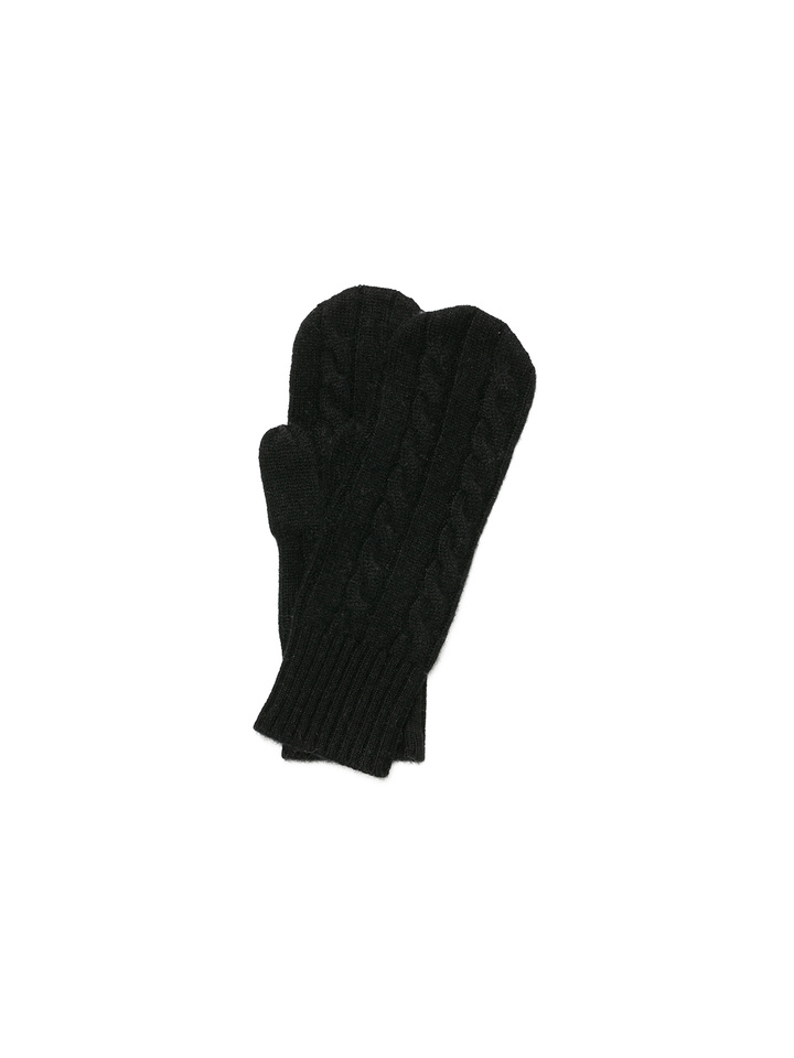 Soft Goat Cable Knit Mittens Black