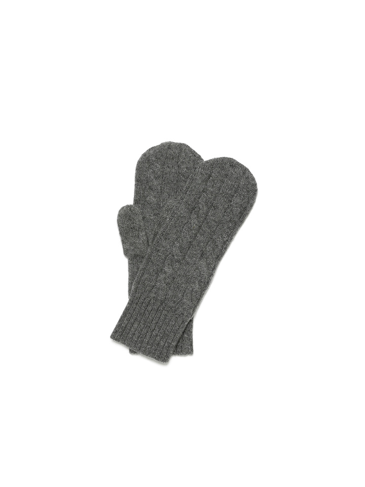 Soft Goat Cable Knit Mittens Dark Grey