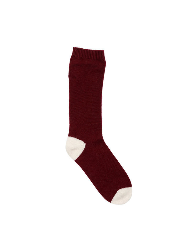 Soft Goat Cashmere Socks Burgundy/off White