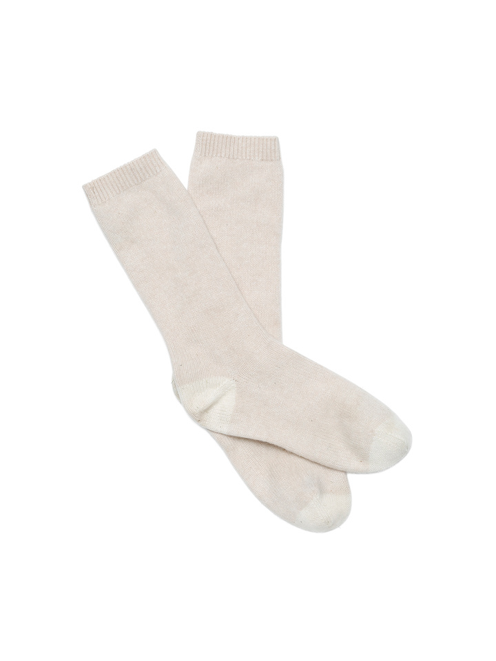 Soft Goat Cashmere Socks Beige/off White