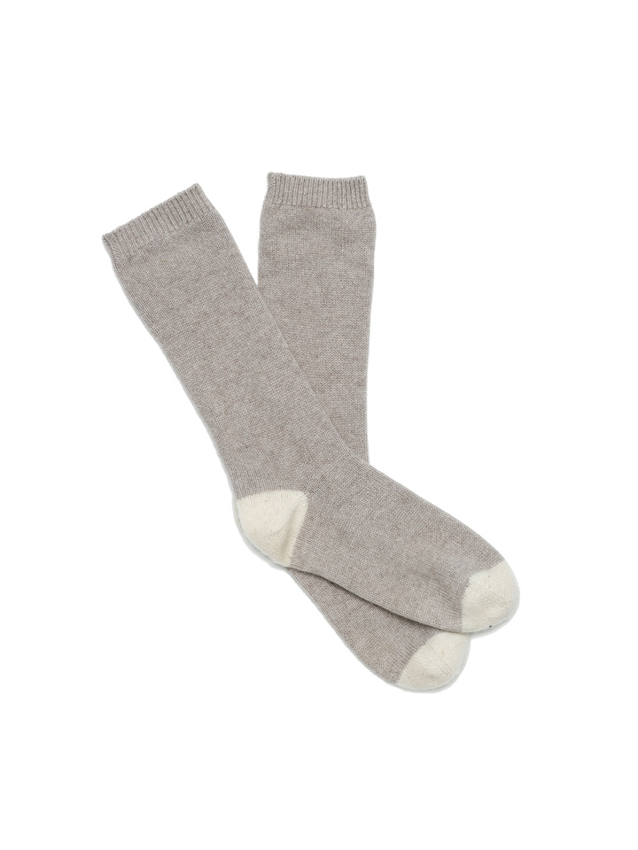 Soft Goat Cashmere Socks Light Taupe/off White