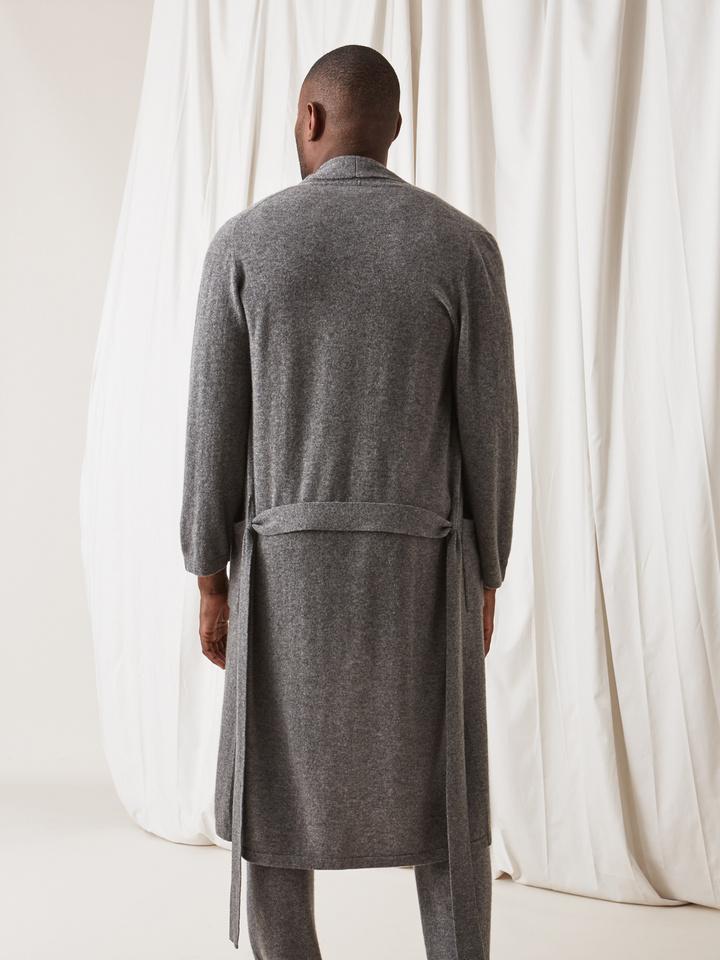 Soft Goat Men's Bathrobe Dark Grey