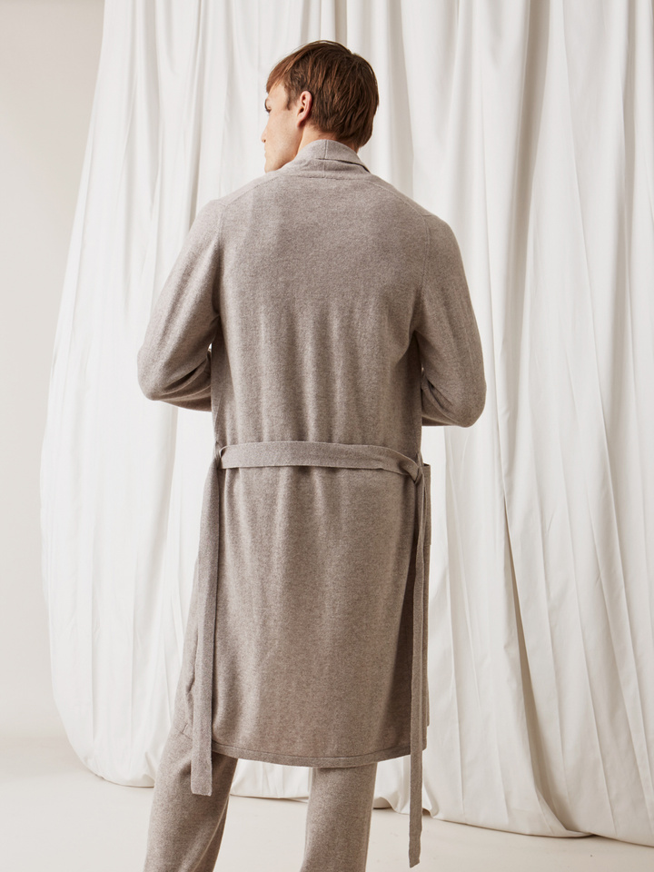 Soft Goat Men's Bathrobe Light Taupe