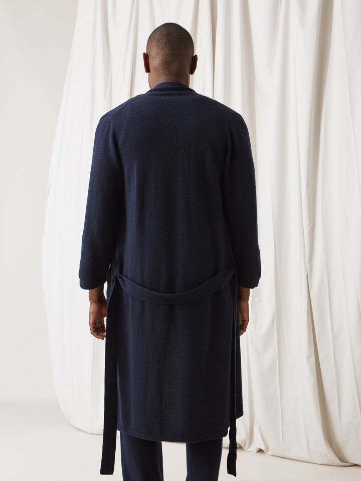Soft Goat Men's Bathrobe Navy