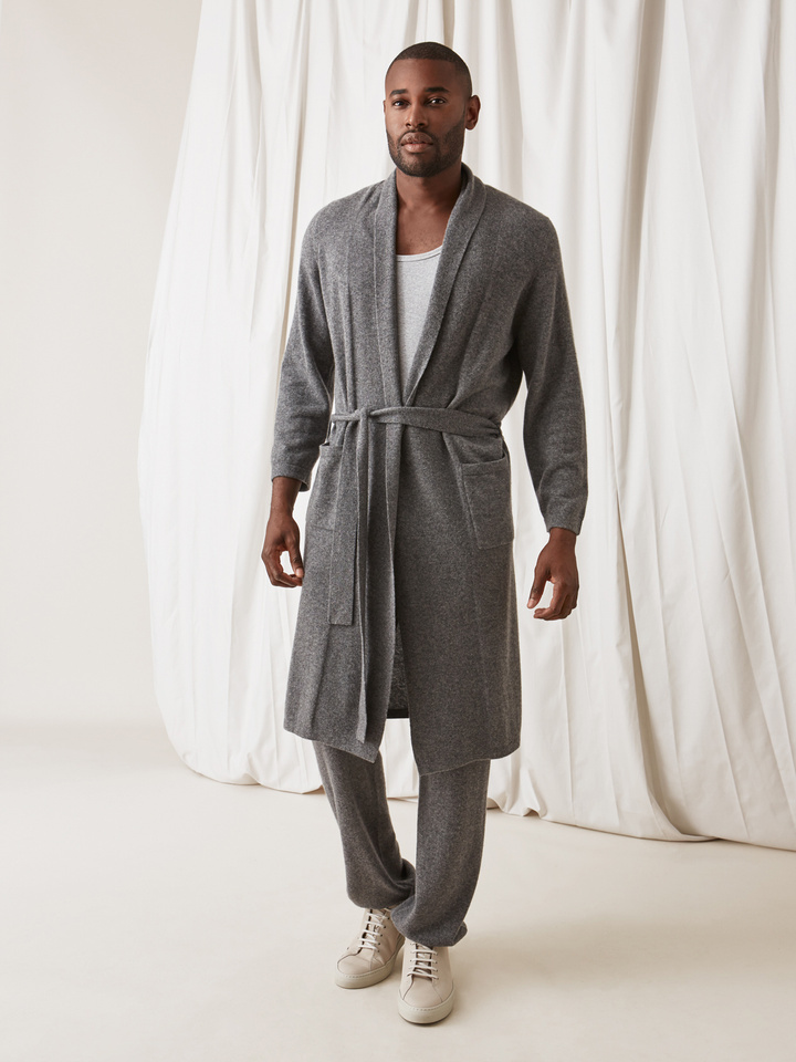 Soft Goat Men's Bathrobe Dark Grey