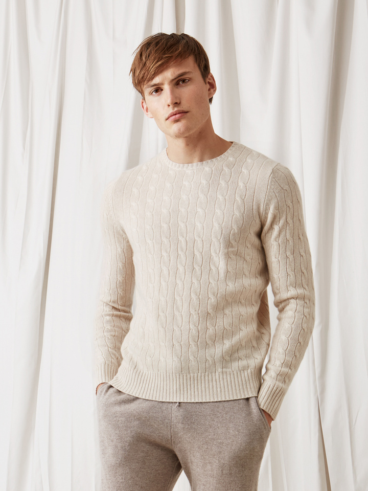 Soft Goat Men's Cable Knit Beige