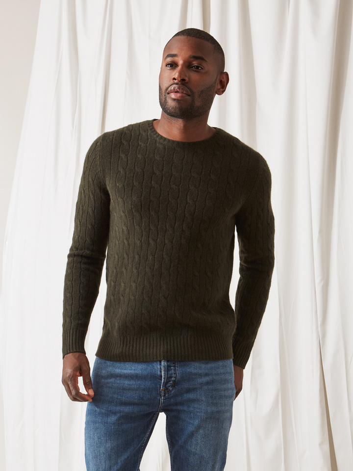 Soft Goat Men's Cable Knit Deep Green