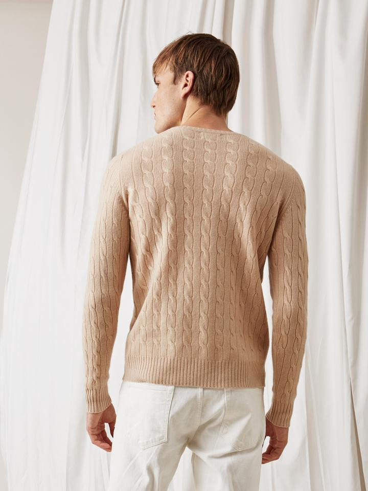 Soft Goat Men's Cable Knit Camel