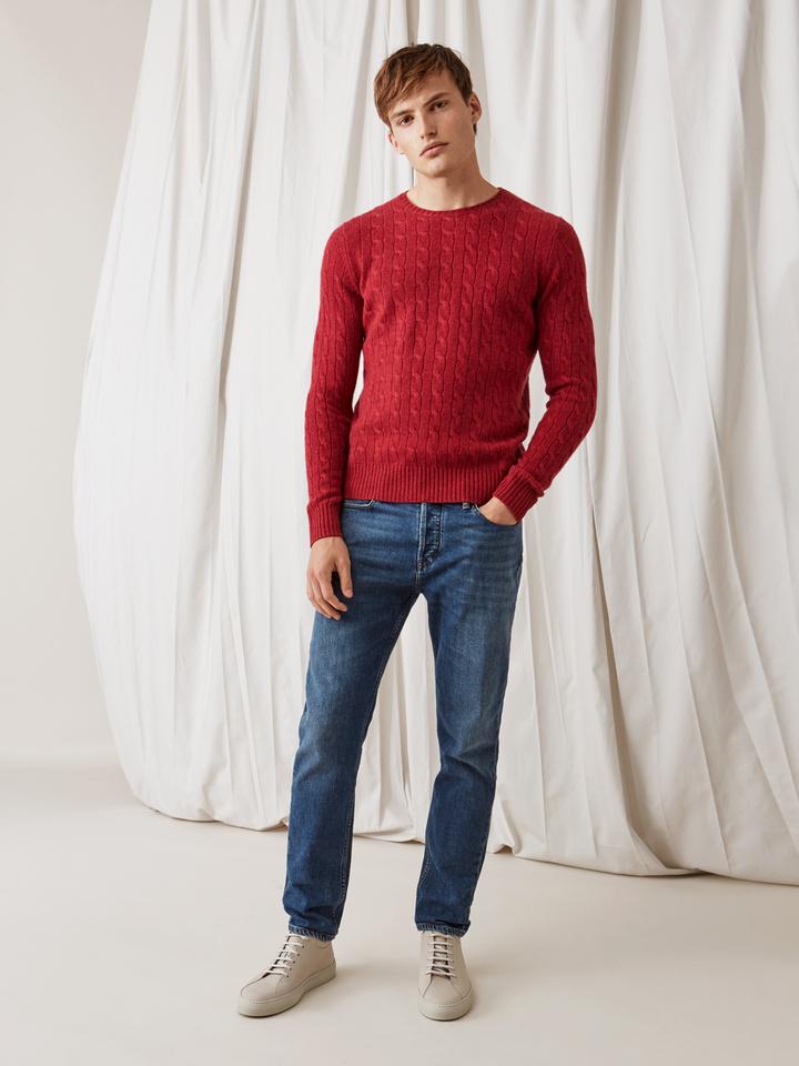 Soft Goat Men's Cable Knit Pomegranate