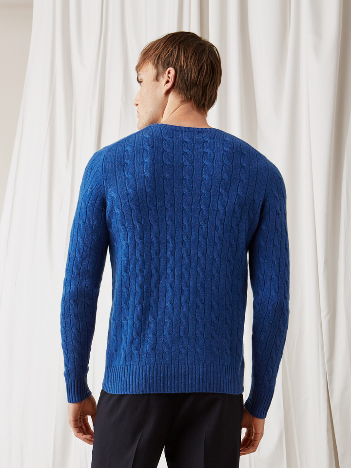 Soft Goat Men's Cable Knit Royal Blue