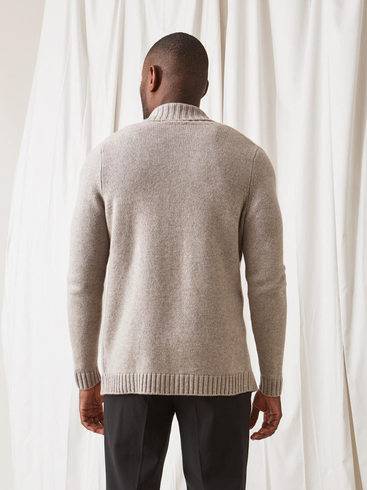 Soft Goat Men's Chunky Cardigan Light Taupe