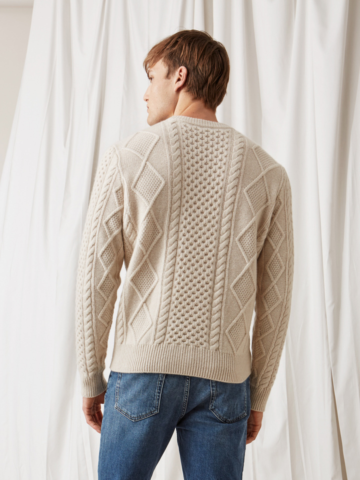 Soft Goat Men's Chunky Sailor Sweater Beige