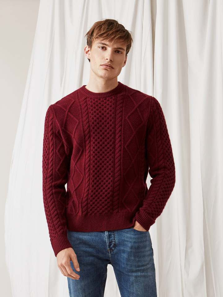 Soft Goat Men's Chunky Sailor Sweater Burgundy