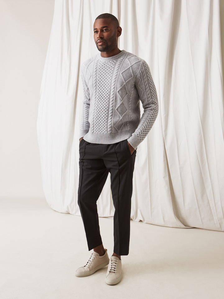 Soft Goat Men's Chunky Sailor Sweater Light Grey