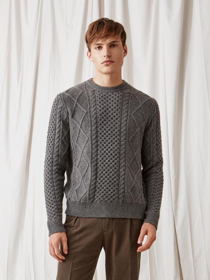 Soft Goat Men's Chunky Sailor Sweater Dark Grey