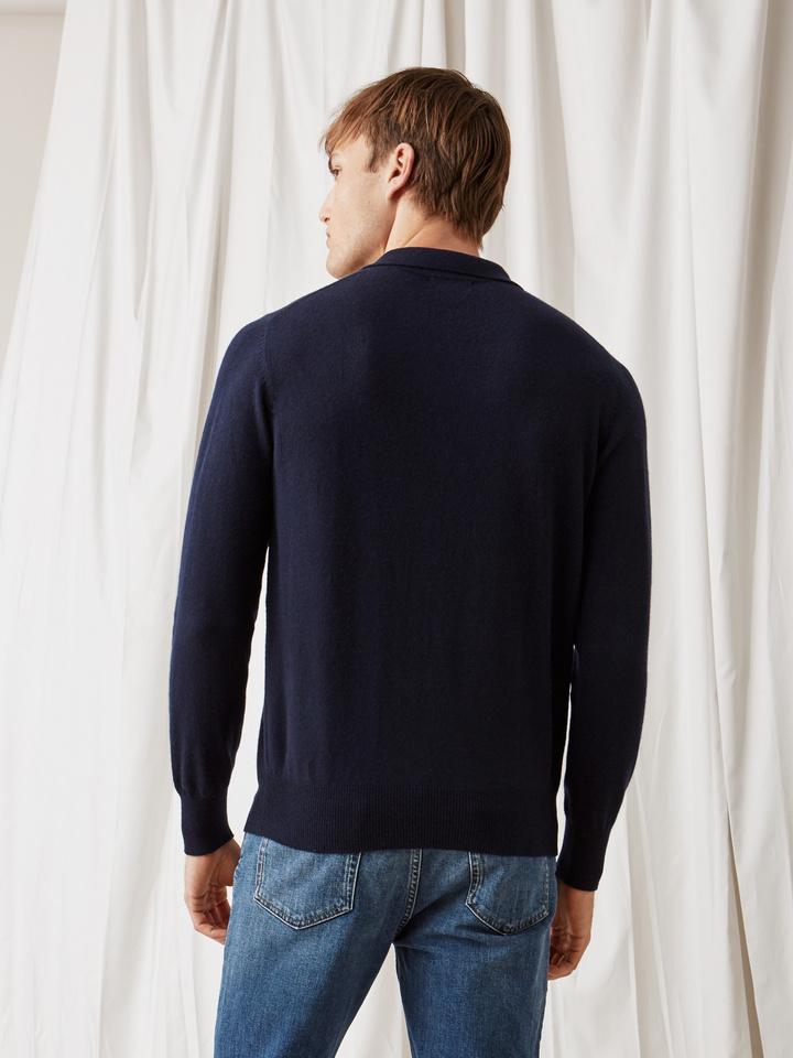 Soft Goat Men's Collar Sweater Navy