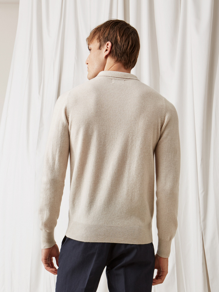 Soft Goat Men's Collar Sweater Beige