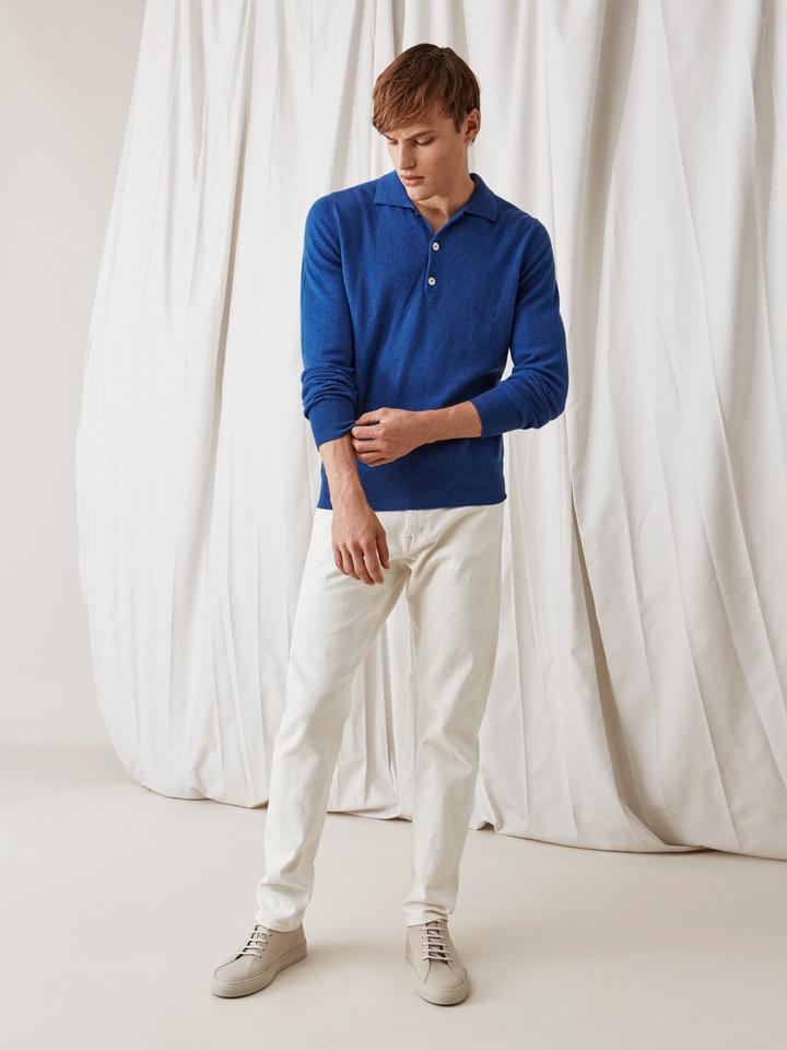 Soft Goat Men's Collar Sweater Royal Blue