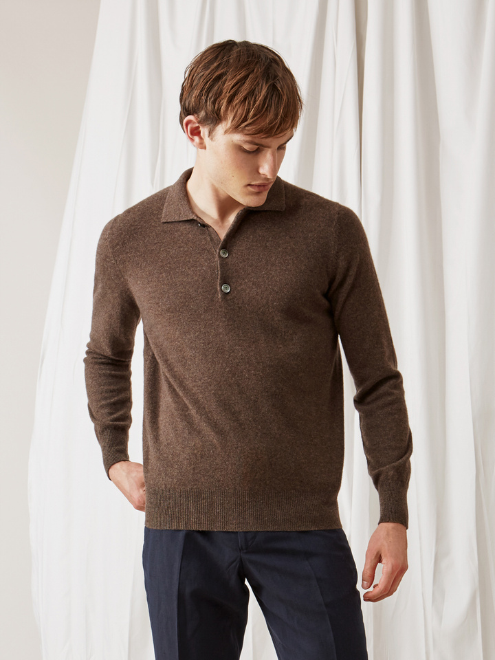 Soft Goat Men's Collar Sweater Mocca
