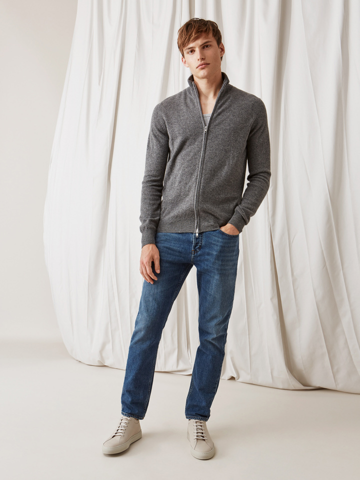 Soft Goat Men's Full Zipper Dark Grey