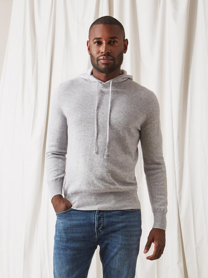 Soft Goat Men's Hoodie Without Zipper Light Grey