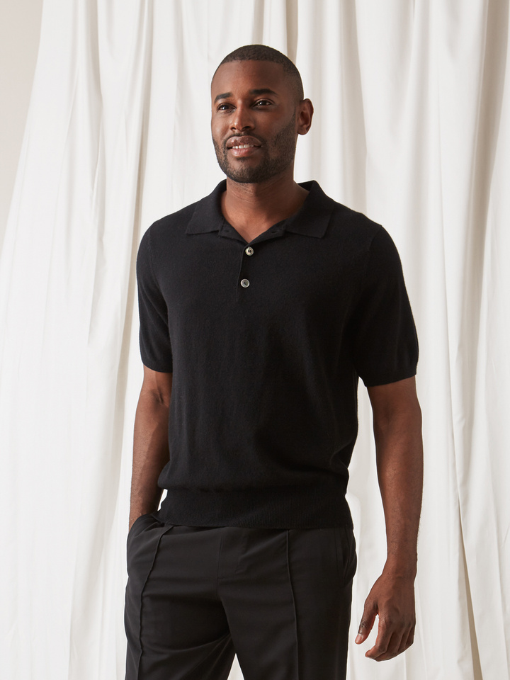 Soft Goat Men's Pique Shirt Black