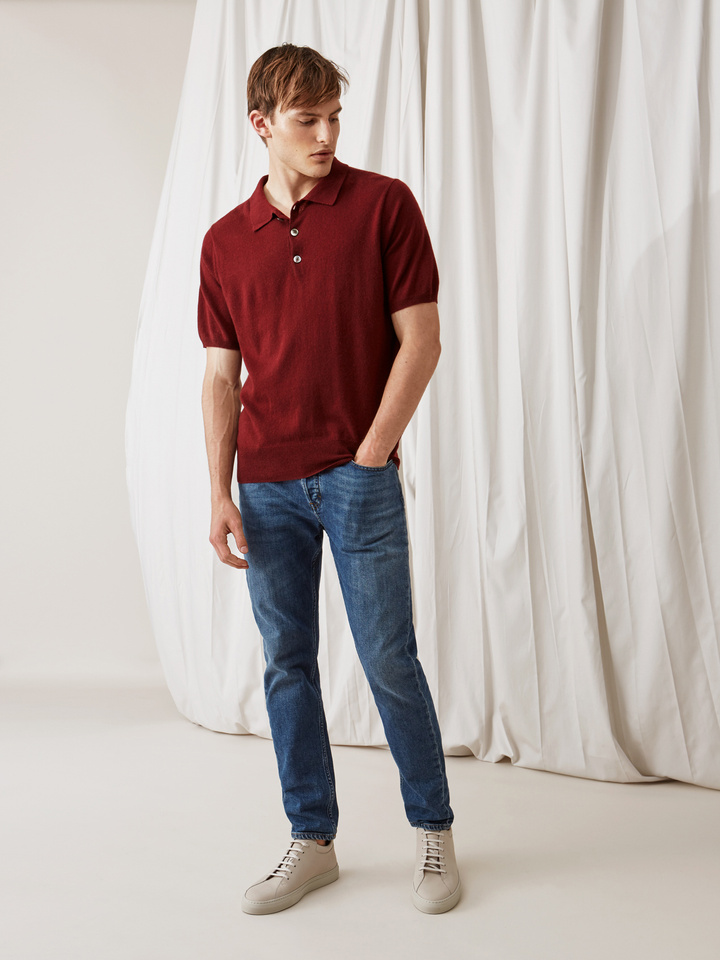Soft Goat Men's Pique Shirt Burgundy