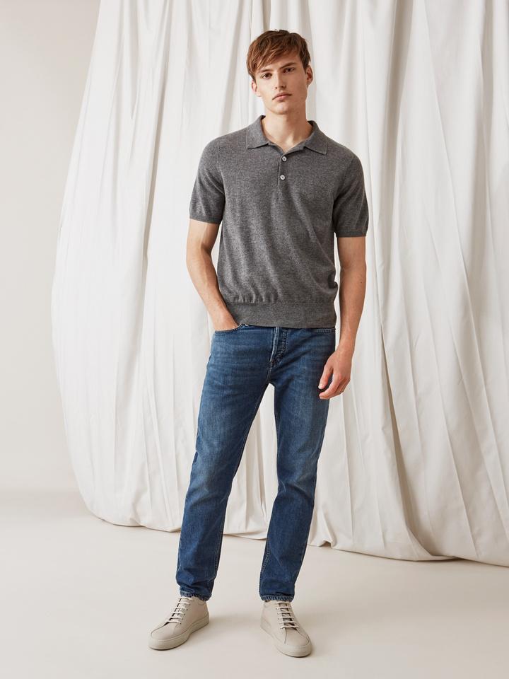 Soft Goat Men's Pique Shirt Dark Grey