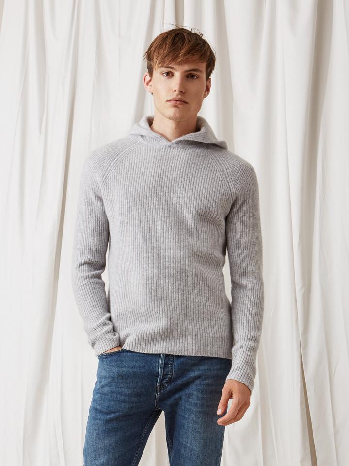 Soft Goat Men's Ribbed Hoodie Light Grey