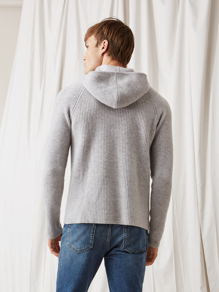 Soft Goat Men's Ribbed Hoodie Light Grey