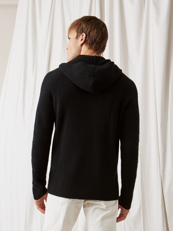Soft Goat Men's Ribbed Hoodie Black