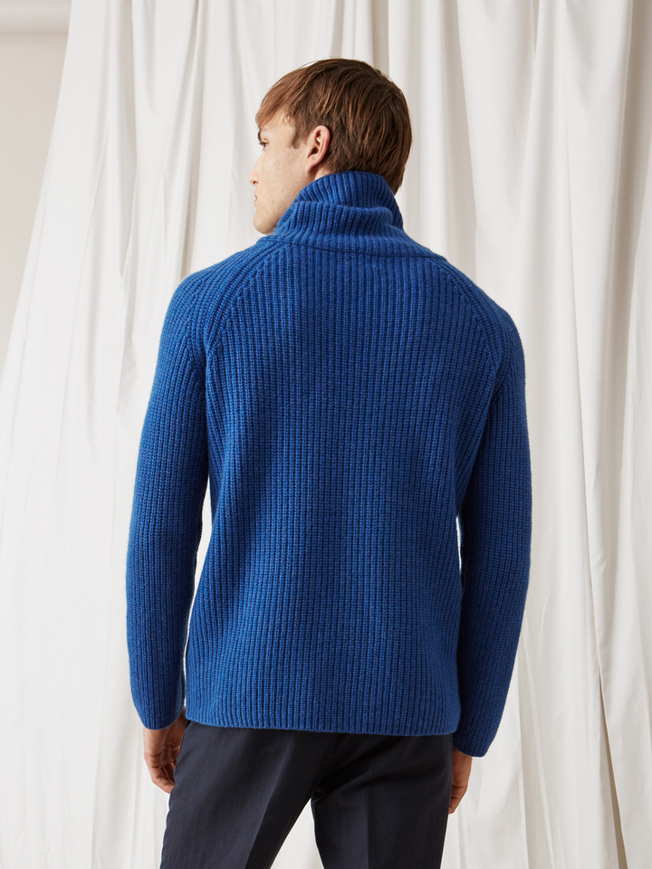 Soft Goat Men's Ribbed Turtle Neck Royal Blue