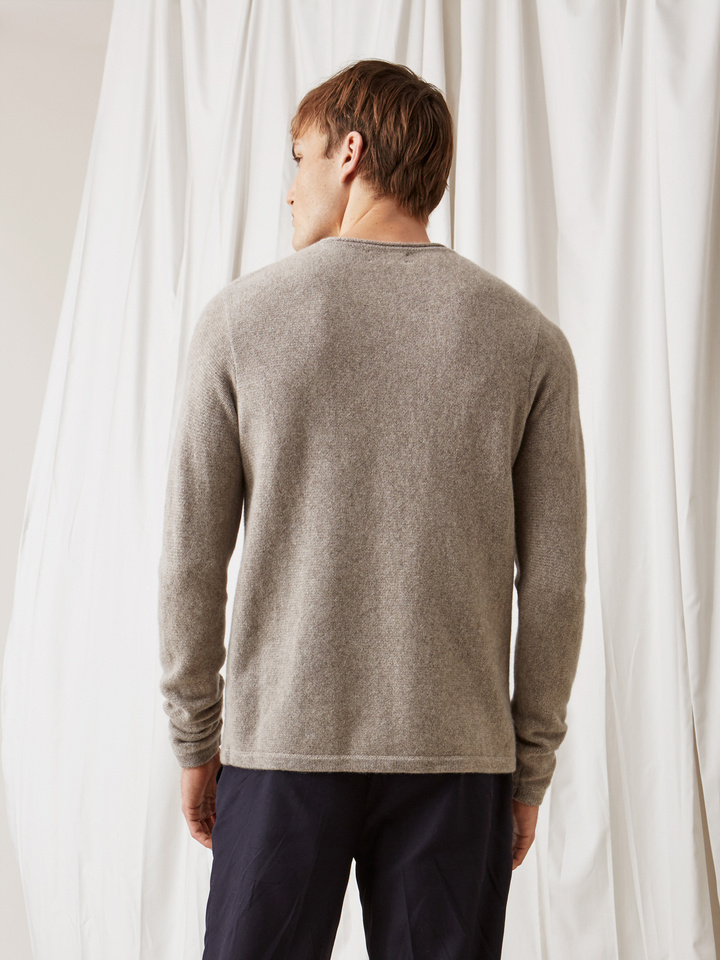 Soft Goat Men's Roll Neck Sweater Light Taupe