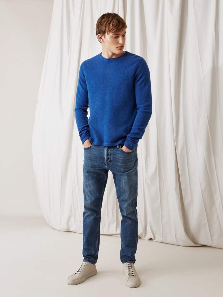 Soft Goat Men's Roll Neck Sweater Royal Blue