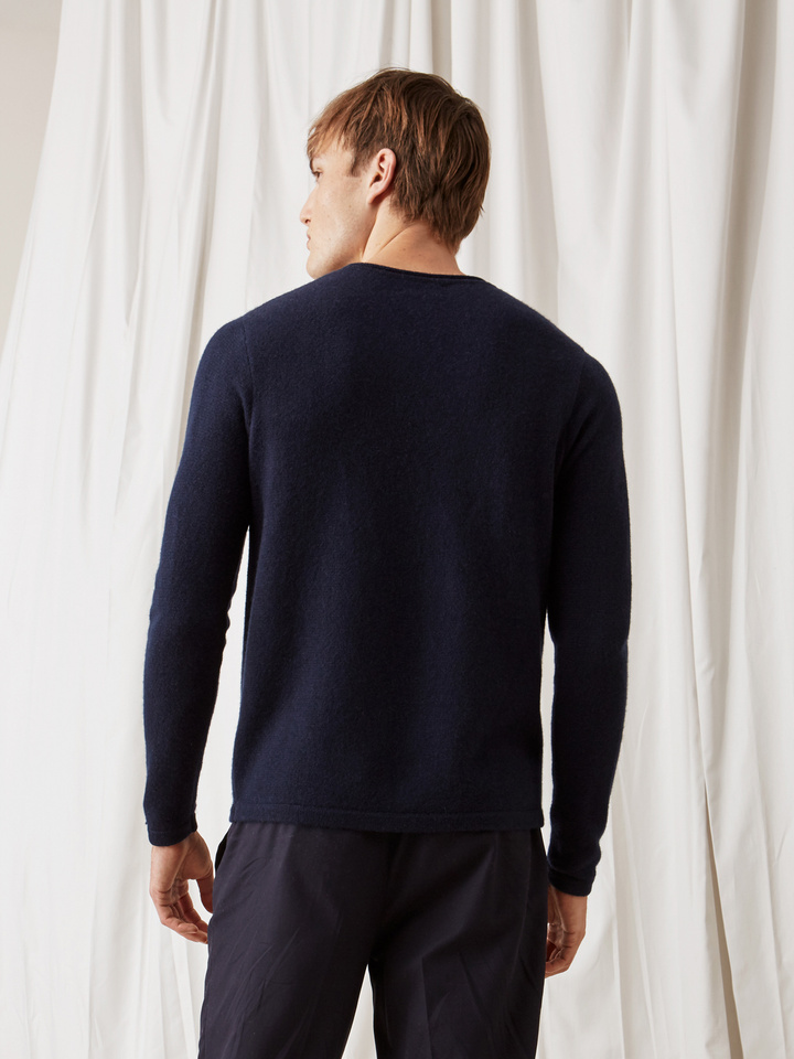 Soft Goat Men's Roll Neck Sweater Navy