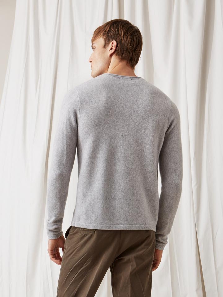 Soft Goat Men's Roll Neck Sweater Light Grey