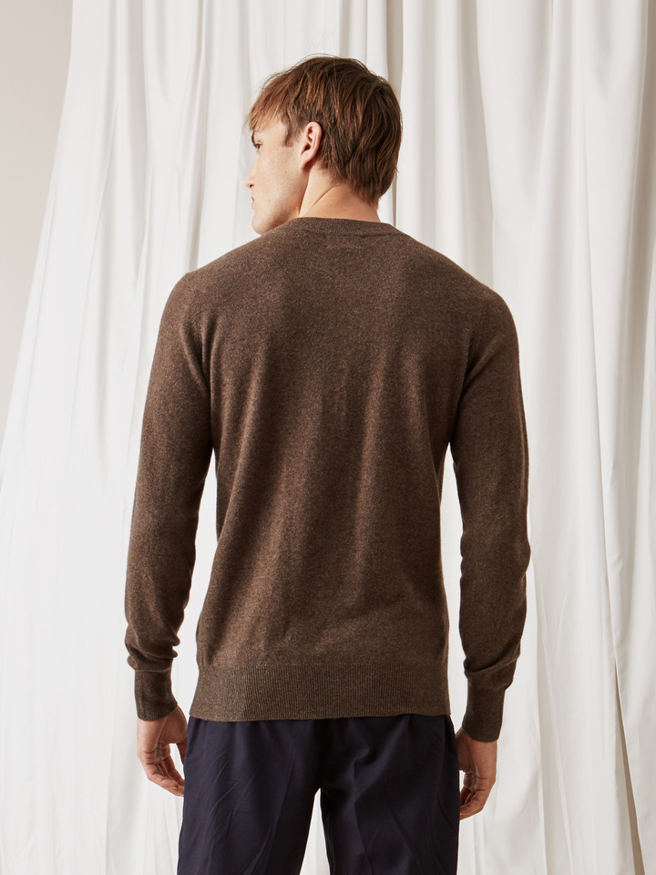 Soft Goat Men's Rugby Collar Sweater Mocca