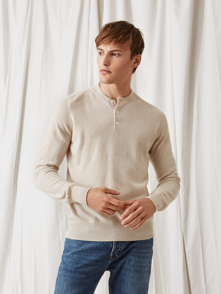 Soft Goat Men's Rugby Collar Sweater Beige