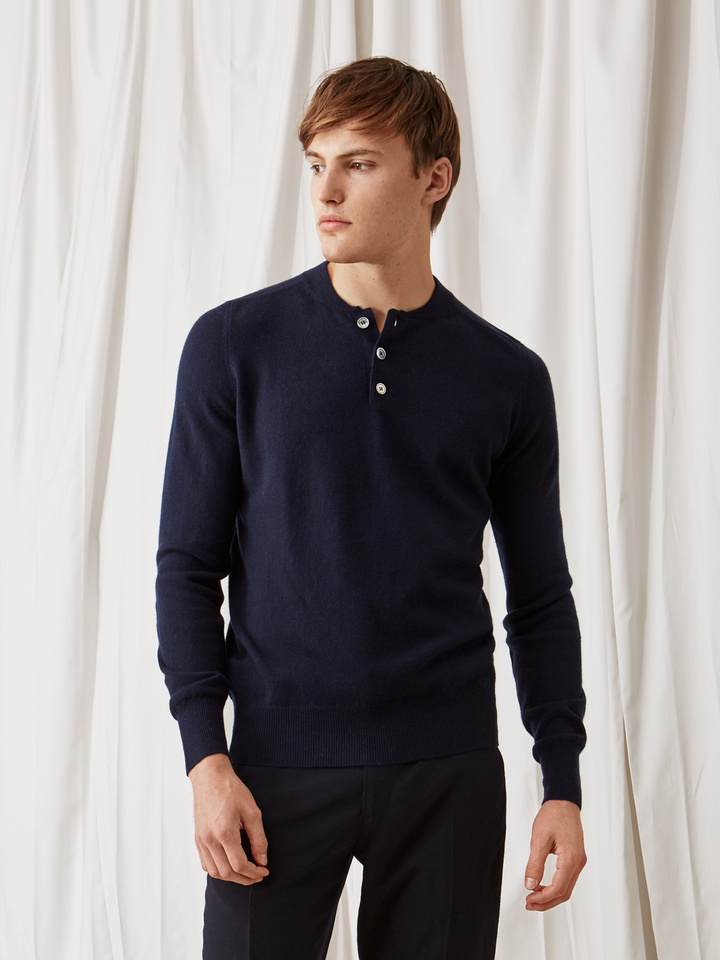 Soft Goat Men's Rugby Collar Sweater Navy
